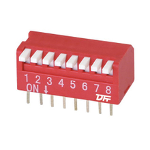 Dip Switch Piano Type 25mA 24VDC Pin spacing 2.54 mm 8-pole in tube packaging